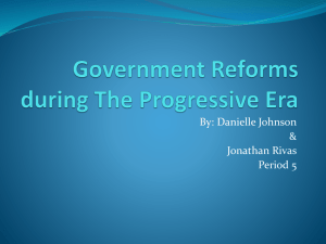Government Reforms during The Progressive Era