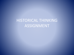 HISTORICAL THINKING ASSIGNMENT