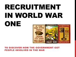 Recruitment in world war one
