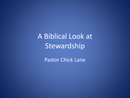 Session 1: A Biblical Look at Stewardship
