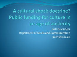 Public funding for culture in an age of austerity