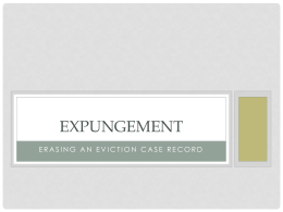 EXPUNGEMENT - Poverty Law