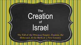 Creation of Israel - Effingham County Schools