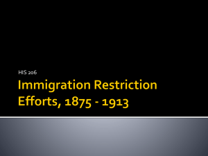 Immigration Restriction Efforts, 1875