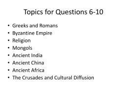 Topics for Questions 6-10