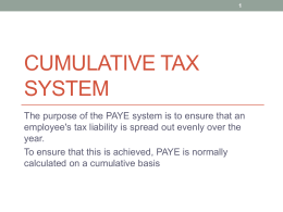 Cumulative Tax System