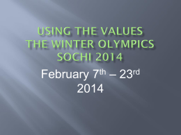 Using the values The Winter Olympics sochi 2014