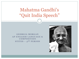 Mahatma Gandhi`s Quit India Speech