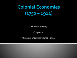 Colonial Economies in the 19th Century