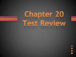 Chapter 20 Review PPT - Woodstown