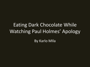 Eating Drak Chocolate While Watching Paul Holmes* Apology
