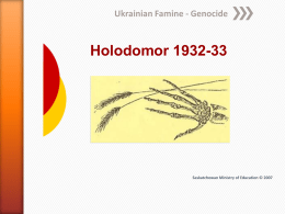 Junior High - Holodomor, ppt from Sask govt