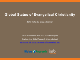 Global Status of Evangelical Christianity