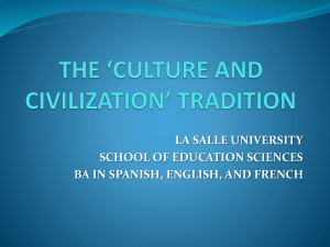 The `culture and civilization` tradition