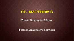 Announcements - St. Matthew Anglican Church