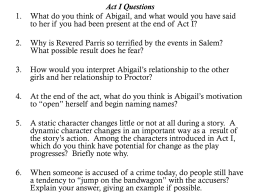 Act I Questions