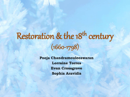 Restoration & the 18th century (1660-1798)