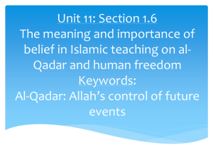 Unit 11: The meaning and importance of belief in