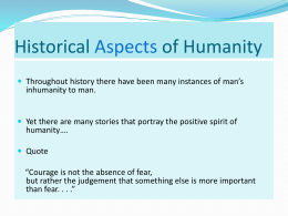 Historical Aspects of Humanity
