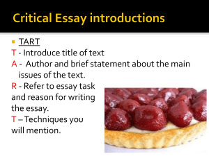 Critical Essays - Higher