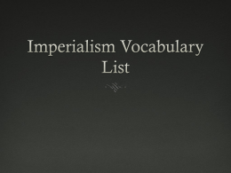 Imperialism Vocabulary List