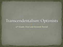 Transcendentalism: Optimists - The One About The Blonde