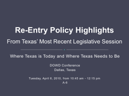 Most Recent Legislative Session - Texas Criminal Justice Coalition