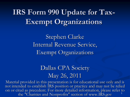 Form 990 Update for Tax Exempt Organizations
