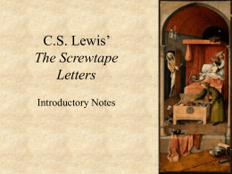 C.S Lewis` The Screwtape Letters