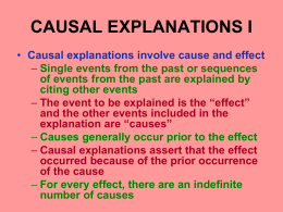 CAUSAL EXPLANATIONS I - Tarleton State University