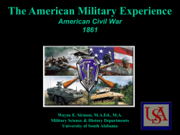 A654 American Civil War - University of South Alabama