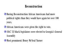 Henry Mc Neal Turner and blacks in politics