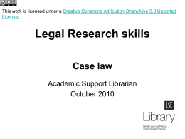LO49LegalResearchCaseLaw - LSE Learning Resources Online