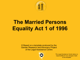 the married person equality act - Legal Assistance Centre