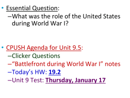 The Battlefront and Homefront During WWI (PowerPoint)