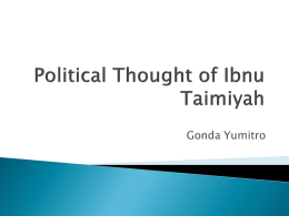 Political Thought of Ibnu Taimiyah