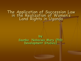 Statutory Laws and the Realization of Women`s Property Rights in