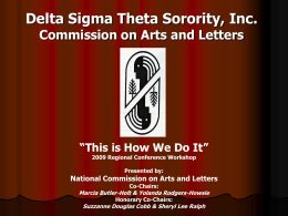 Delta Sigma Theta Sorority, Inc. Arts and Letters Commission