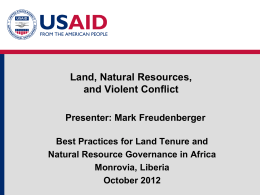 Module 2: Land NR and Conflict - Land Tenure and Property Rights