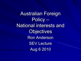 Australian foreign policy objectives
