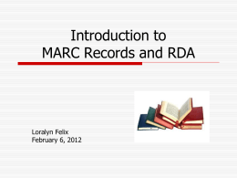 Intro to MARC and RDA