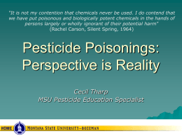 Pesticide Poisonings - Montana Pesticide Safety Education Program