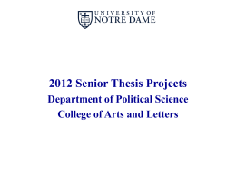 2011 Senior Thesis Projects - Department of Political Science