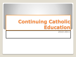 Continuing Catholic Education_Introduction and Genesis