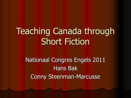 Teaching Canada through Short Fiction