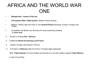 AFRICA AND THE WORLD WAR ONE