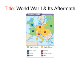Title: World War I & Its Aftermath