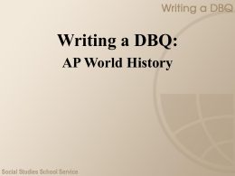 Writing a DBQ - Patterns of Trade