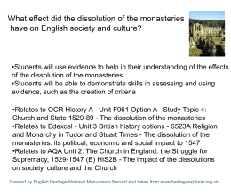 PPT: Dissolution of the Monasteries