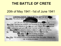 THE BATTLE OF CRETE 20th of May 1941